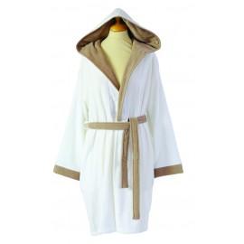 Peignoir PALACE  Blanc/Camel Coton & Lin
