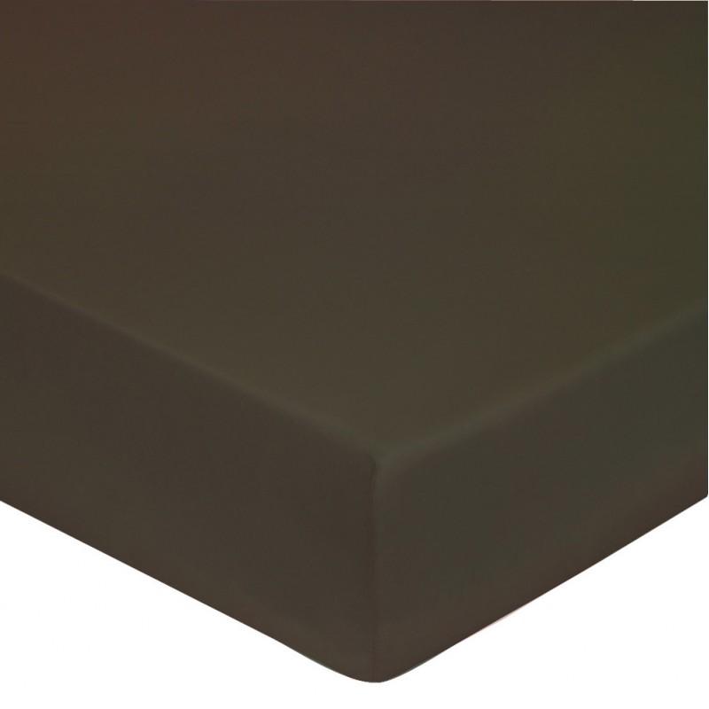 drap housse percale marron glac l au march du linge. Black Bedroom Furniture Sets. Home Design Ideas