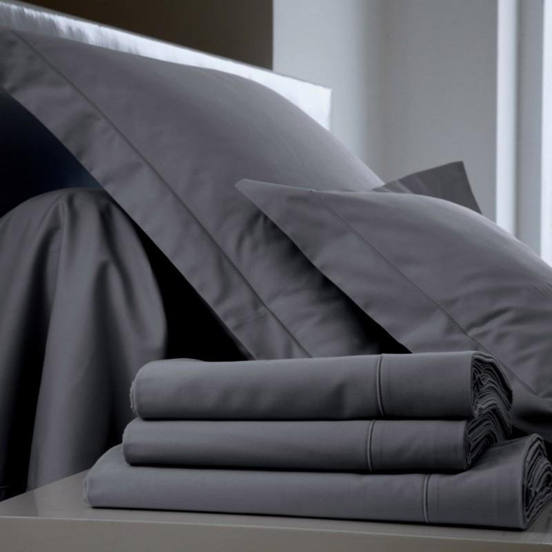 drap plat percale uni acier l au march du linge. Black Bedroom Furniture Sets. Home Design Ideas