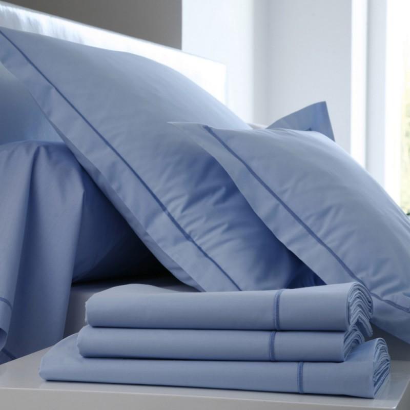 drap plat percale bleu ciel l au march du linge. Black Bedroom Furniture Sets. Home Design Ideas