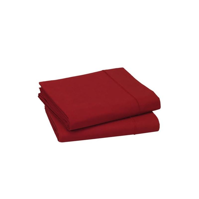 drap plat percale uni rubis l au march du linge. Black Bedroom Furniture Sets. Home Design Ideas
