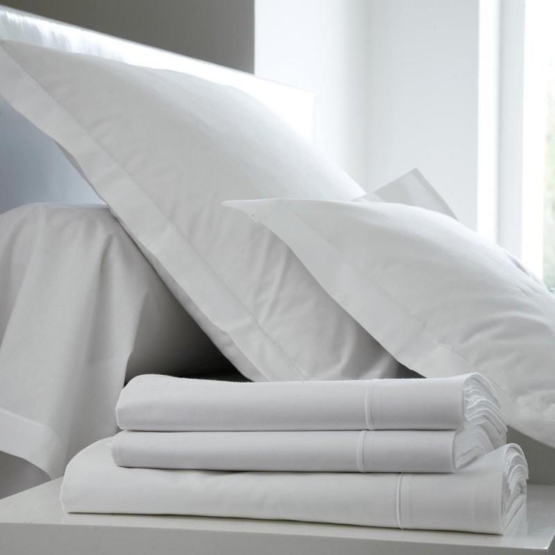 drap plat percale blanc l au march du linge. Black Bedroom Furniture Sets. Home Design Ideas