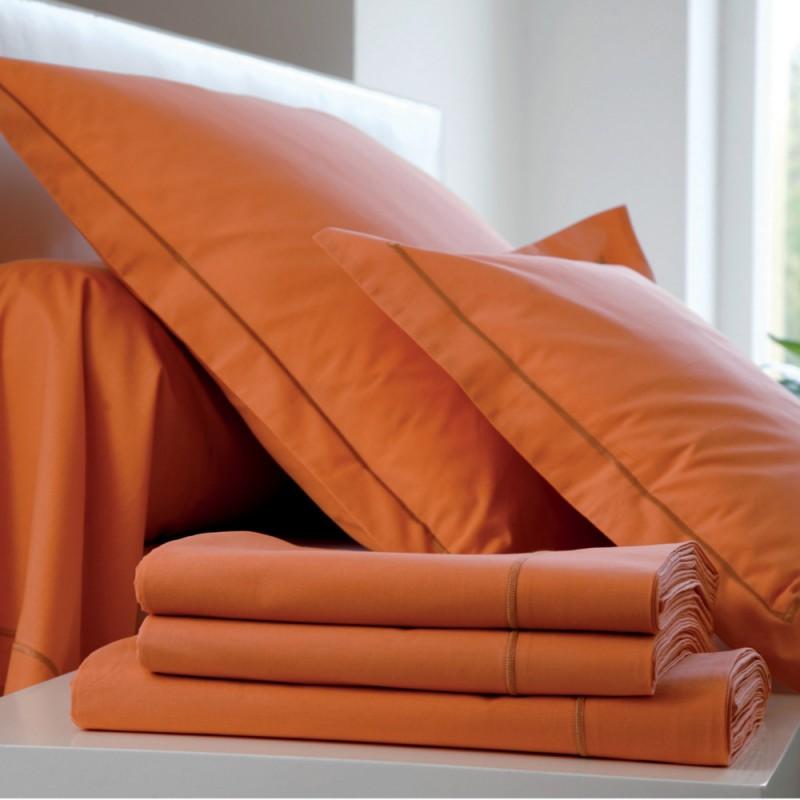 drap housse percale uni paprika l au march du linge. Black Bedroom Furniture Sets. Home Design Ideas
