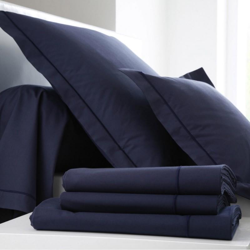 drap housse percale uni bleu navy l au march du linge. Black Bedroom Furniture Sets. Home Design Ideas