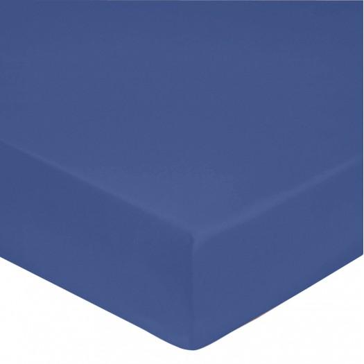 Drap housse Bleu Royal, BLANC DES VOSGES