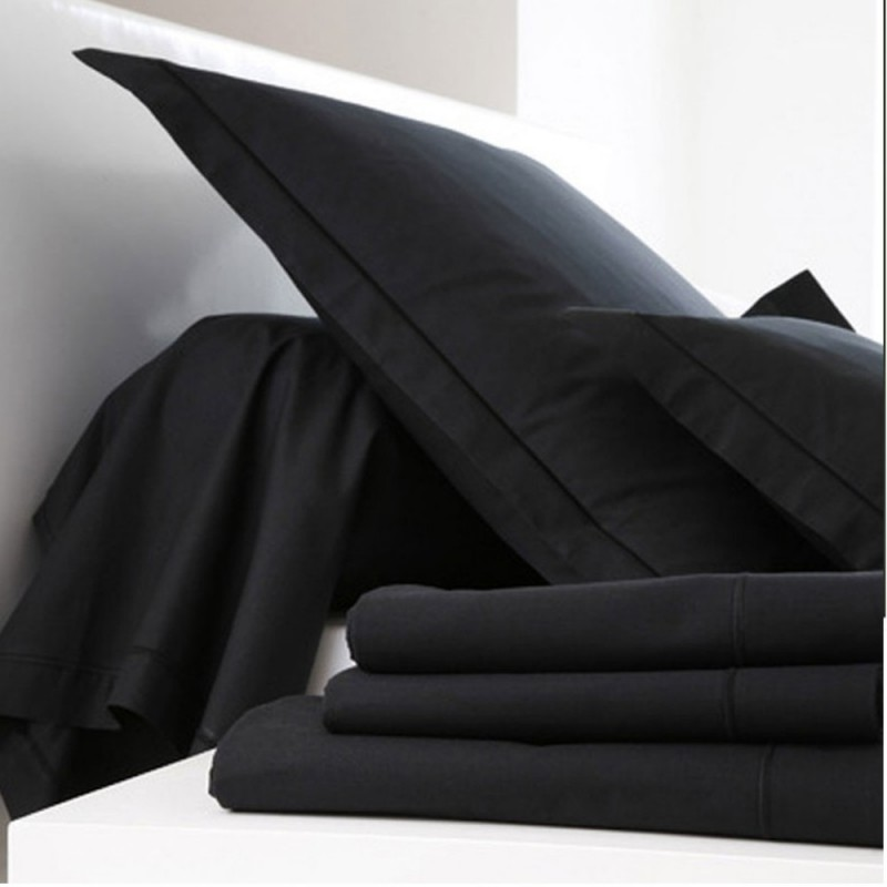 drap housse noir coton l au march du linge. Black Bedroom Furniture Sets. Home Design Ideas