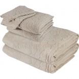 Lot de 2 serviettes + 2 draps de bain + 2 gants BARI Beige 450gr Micro coton