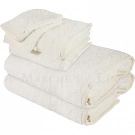 Lot de 2 serviettes + 2 draps de bain + 2 gants BARI Ecru 450gr Micro coton