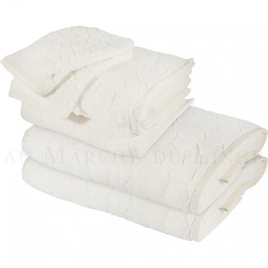 Lot de 2 serviettes + 2 draps de douche + 2 gants BARI Ecru 450gr Micro coton