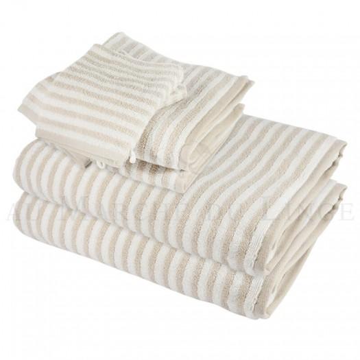 Lot de 2 serviettes + 2 draps de bain + 2 gants BOSTON Beige 450gr coton