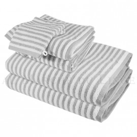 Lot de 2 serviettes + 2 draps de bain + 2 gants BOSTON Gris Perle 450gr coton