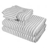 Lot de 2 serviettes + 2 draps de bain + 2 gants BOSTON Gris Perle 450gr coton