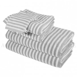 Lot de 2 serviettes + 2 draps de douche + 2 gants BOSTON Gris Perle 450gr coton