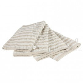 Lot de 4 gants de toilette BOSTON Beige 450gr coton