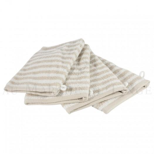 Lot de 4 gants de toilette BOSTON Beige 450gr coton