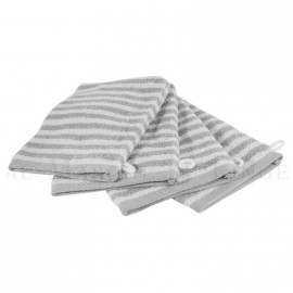 Lot de 4 gants de toilette BOSTON Gris Perle 450gr coton