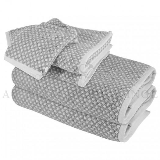 Lot de 2 serviettes + 2 draps de douche + 2 gants BRISTOL Gris Perle 450gr coton