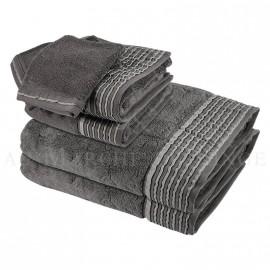 Lot de 2 serviettes + 2 draps de bain + 2 gants NICE Anthracite 560 gr/m²