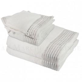 Lot de 2 serviettes + 2 draps de bain + 2 gants NICE Blanc 560 gr/m²