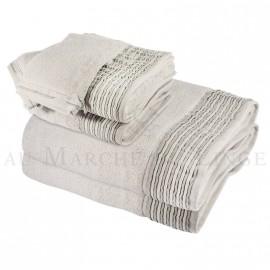 Lot de 2 serviettes + 2 draps de bain + 2 gants NICE Gris Perle 560 gr/m²