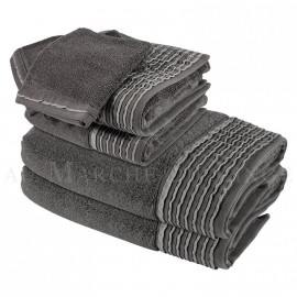 Lot de 2 serviettes + 2 draps de douche + 2 gants NICE Anthracite 560 gr/m²