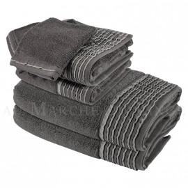 Lot de 2 serviettes + 2 draps de douche + 2 gants NICE Anthracite 560 gr/m²