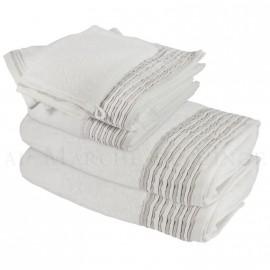 Lot de 2 serviettes + 2 draps de douche + 2 gants NICE Blanc 560 gr/m²