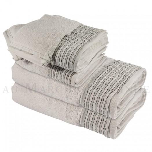 Lot de 2 serviettes + 2 draps de douche + 2 gants NICE Gris Perle 560 gr/m²