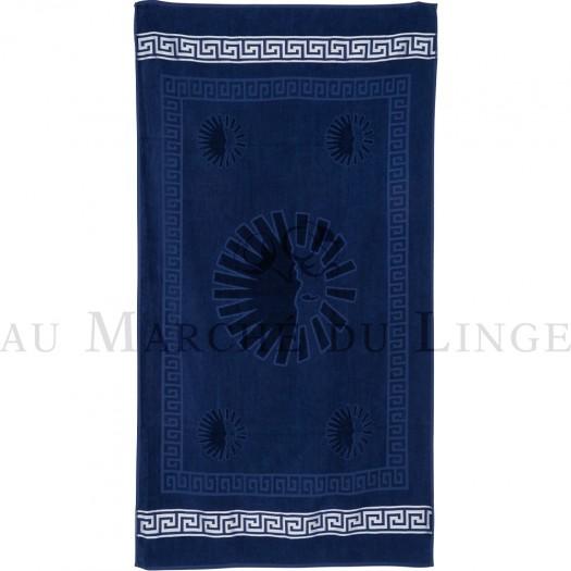SUN Bleu Marine Drap de plage, Coton & lin