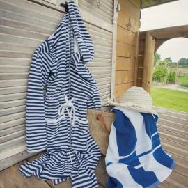 Peignoir BEACH Bleu Rayé,  Coton & Lin