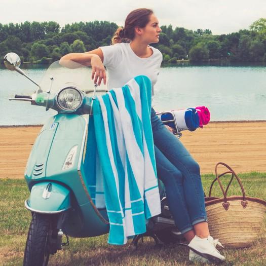 Marina Turquoise Drap de Plage COTON & LIN