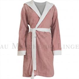 Peignoir capuche velours éponge rose/blanc