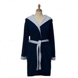 Peignoir capuche velours éponge Bleu marine/blanc