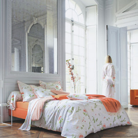 PARURE DE LIT PERCALE BUCOLIQUE ORANGE, FRANCOIS HANS