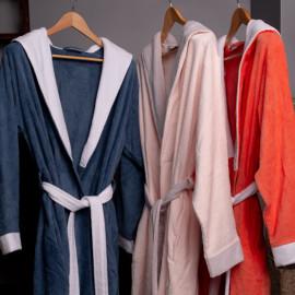 Peignoir capuche velours éponge Bleu/blanc