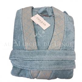 Peignoir éponge coton kimono, Eclat Aqua