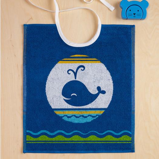 Bavoir enfant Baleine bleu, WILLY De Witte Lietaer