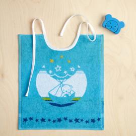 Bavoir enfant Animaux bleu turquoise, ADVENTURER De Witte Lietaer
