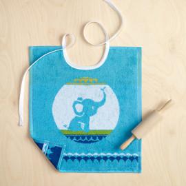Bavoir enfant Elephant bleu turquoise, TANTOR De Witte Lietaer