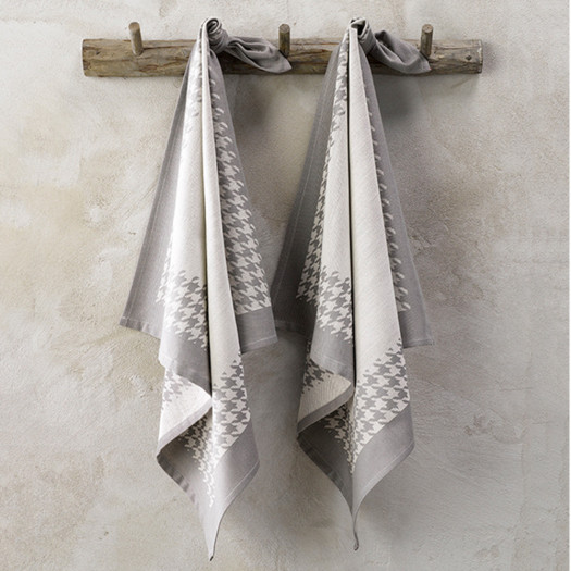 Torchon coton Pied de Poule gris De Witte Lieater