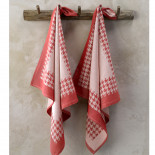 Torchon coton Pied de Poule Rouge De Witte Lieater