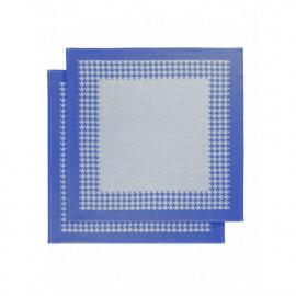 Torchon coton Pied de Poule Bleu royal Blue De Witte Lieater