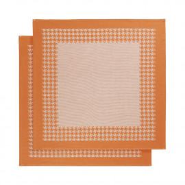 Torchon coton Pied de Poule orange De Witte Lieater