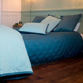 Couvre lit piqué de coton matelassé Bleu Aqua, COTON&LIN