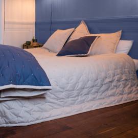 Couvre lit piqué de coton matelassé Bleu Beige, COTON&LIN