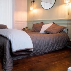 Couvre lit piqué de coton matelassé Taupe Perle, COTON&LIN